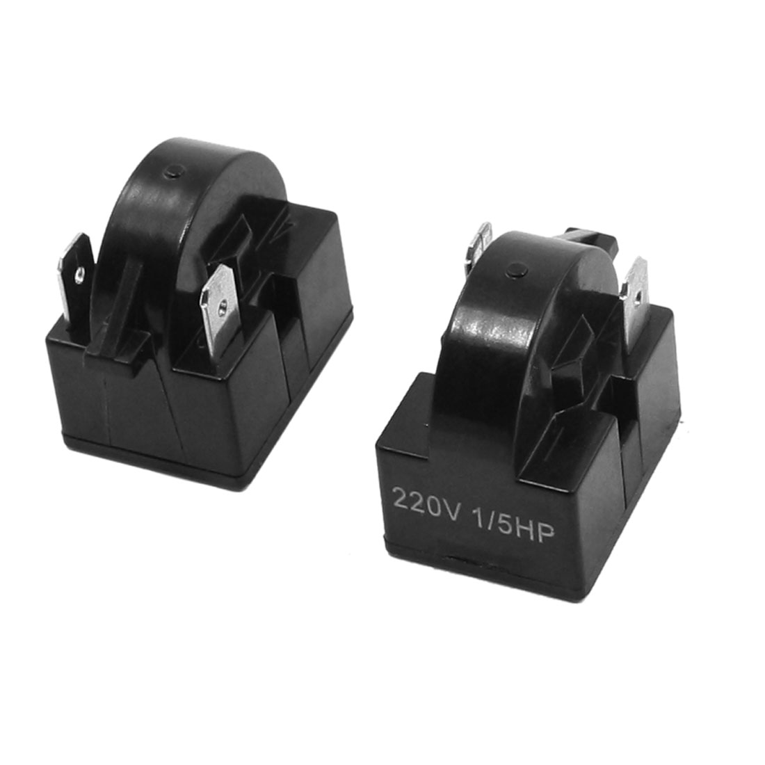 2 Pcs 1/5 HP Refrigerator Black Plastic Shell 220V PTC Starter Relay