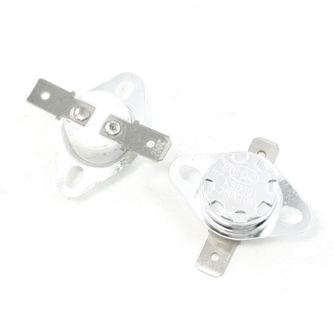 2 Pcs 250C Celsius NC 2 Flat Pin KSD301 Model Ceramic Thermostat 10A AC 250V