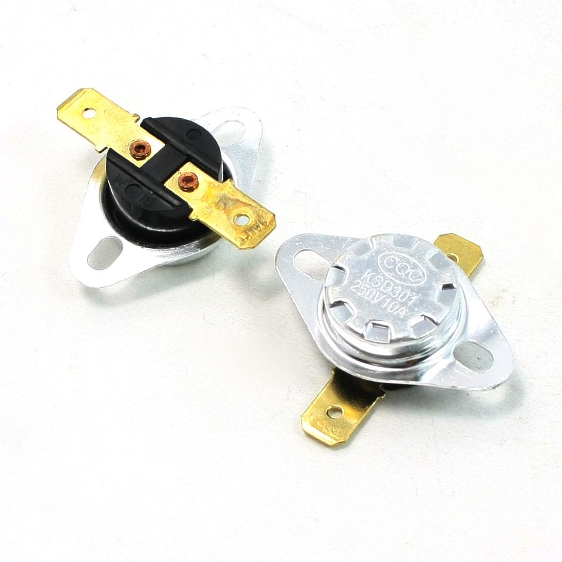 2 Pcs 140C Celsius N/C 2 Pin Soldering Temperature Control Switch 10A AC 250V