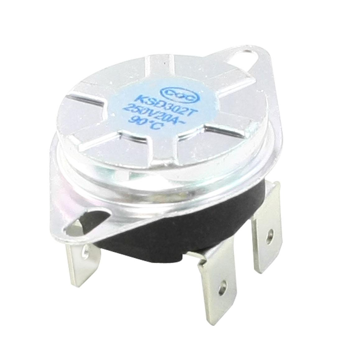 250V AC 20A 90C Celsius N/C Temperature Control Bimetal Thermostat KSD302T