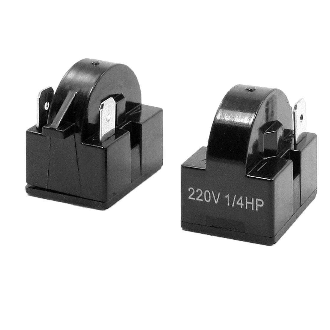 Black Plastic Shell PTC Starter Relay for 1/4 HP Refrigerator 220V