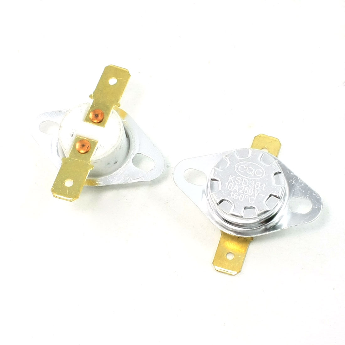 2 Pcs 160C NC 2 Pin Terminals Temperature Control Ceramic Thermostat 10A AC250V