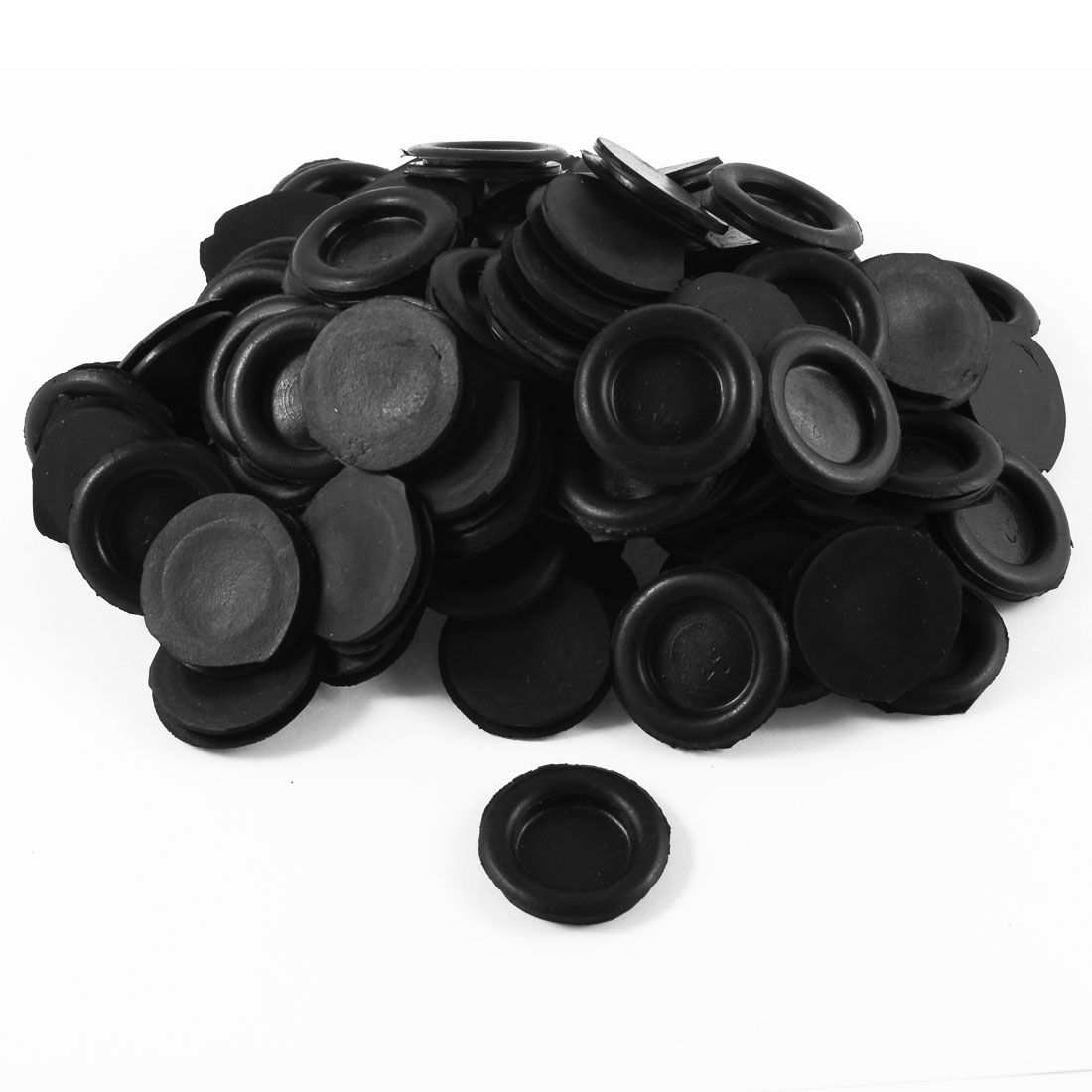 100 Pcs Black Single Sided Armature Rubber Grommets Wire Protector 25mm Dia