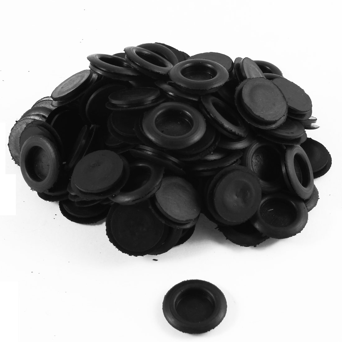 100 Pcs Black Single Side Rubber Grommets Wire Cable Protector 20mm Diameter