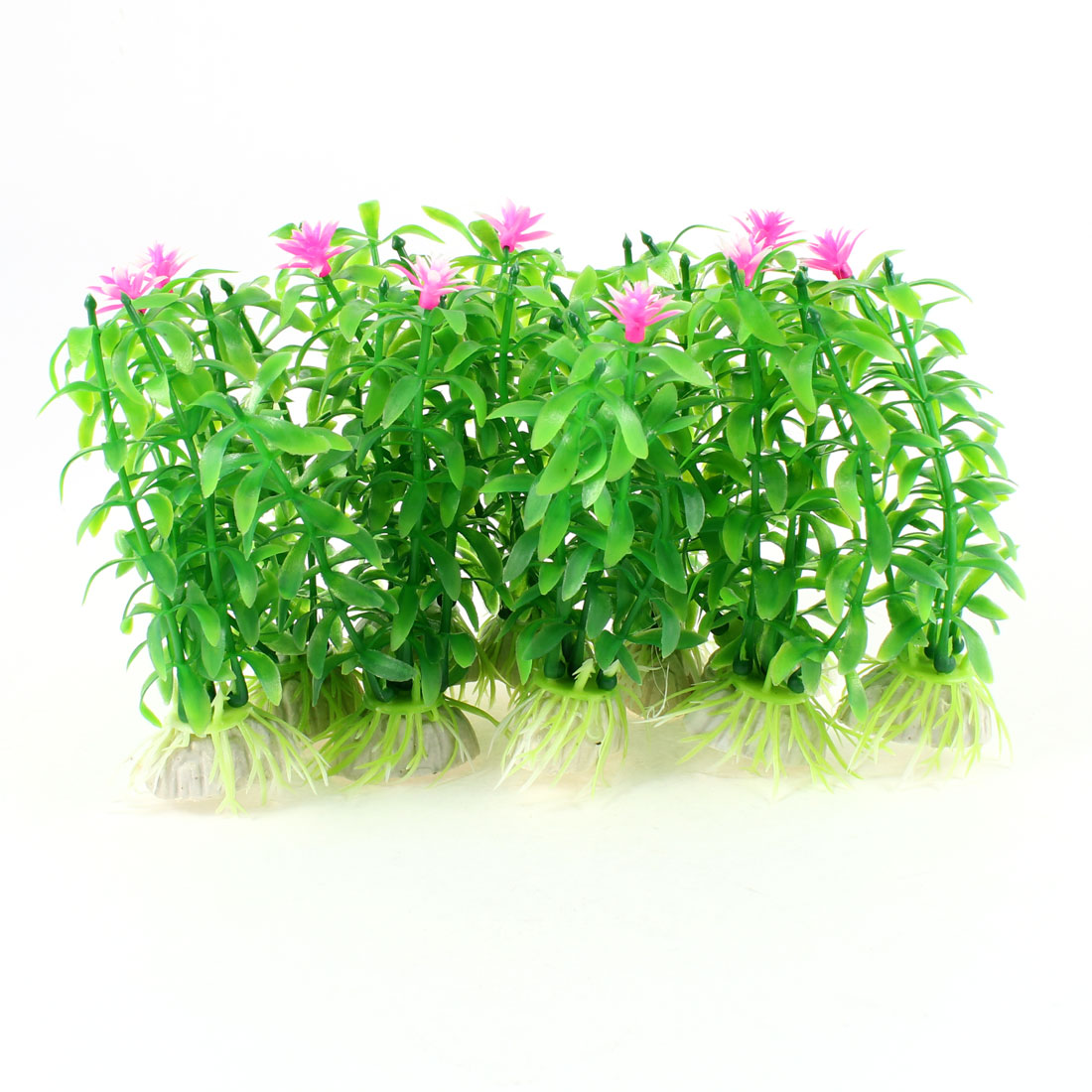 10 Pcs Pink Flower Accent Green Plastic Water Plants Decor for Fish Tank