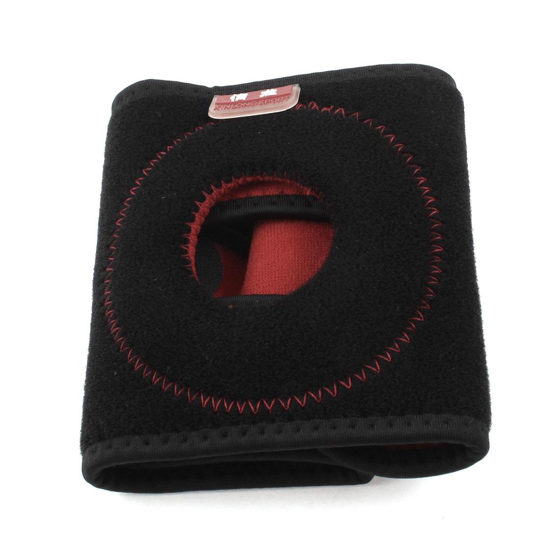 Hook Loop Fastener Closure Detachable Neoprene Elastic Knee Support Red Black