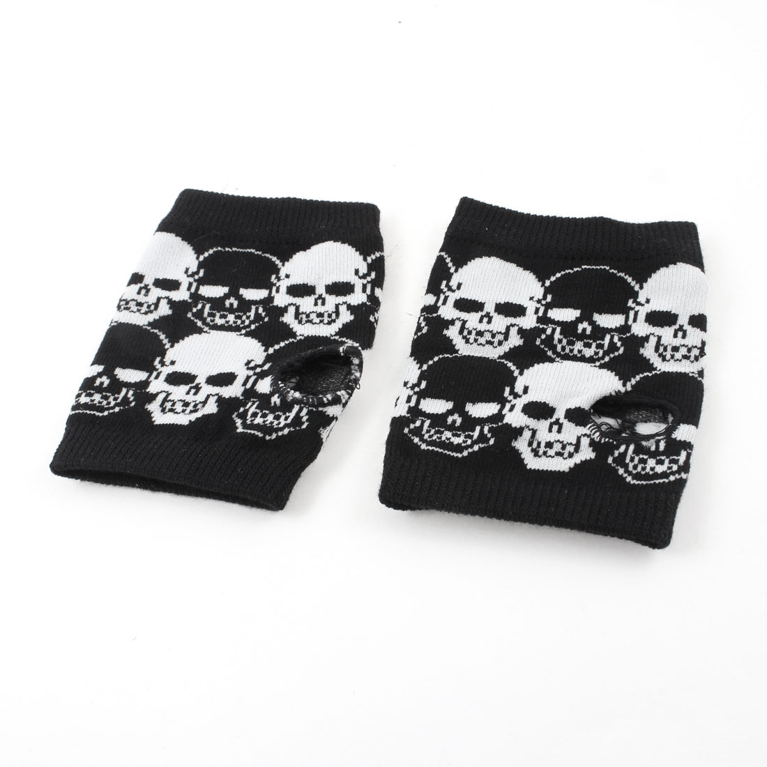 Woman Black White Stretchy Skull Pattern Knitting Thumb Hole Detail Gloves Pair