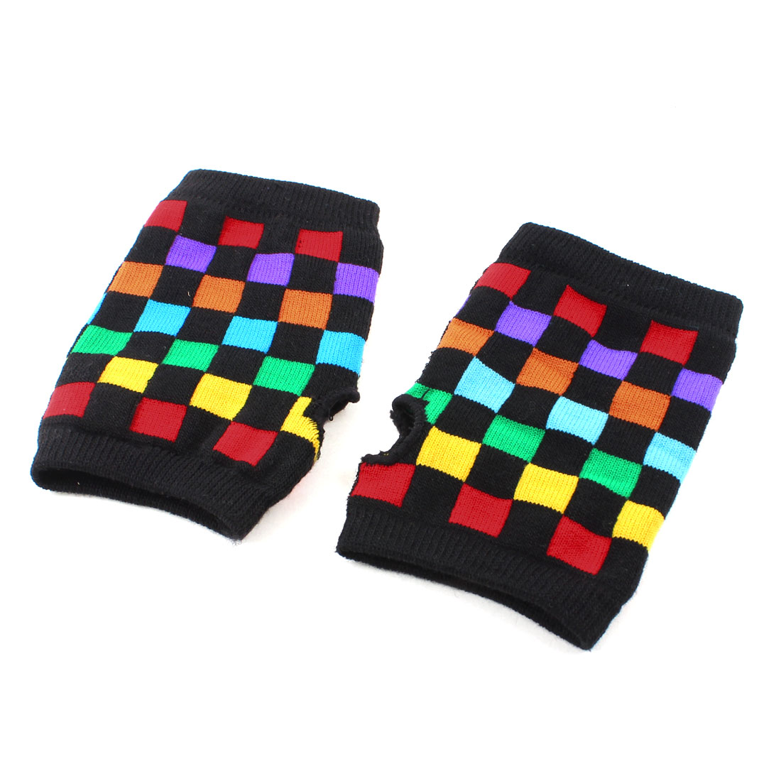 Colorful Plaids Printed Fingerless Hand Knitted Thumbhole Gloves pair for Ladies