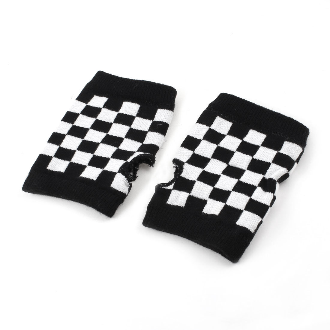 Woman White Black Grid Pattern Elastic Cuff Mitten Fingerless Gloves Pair