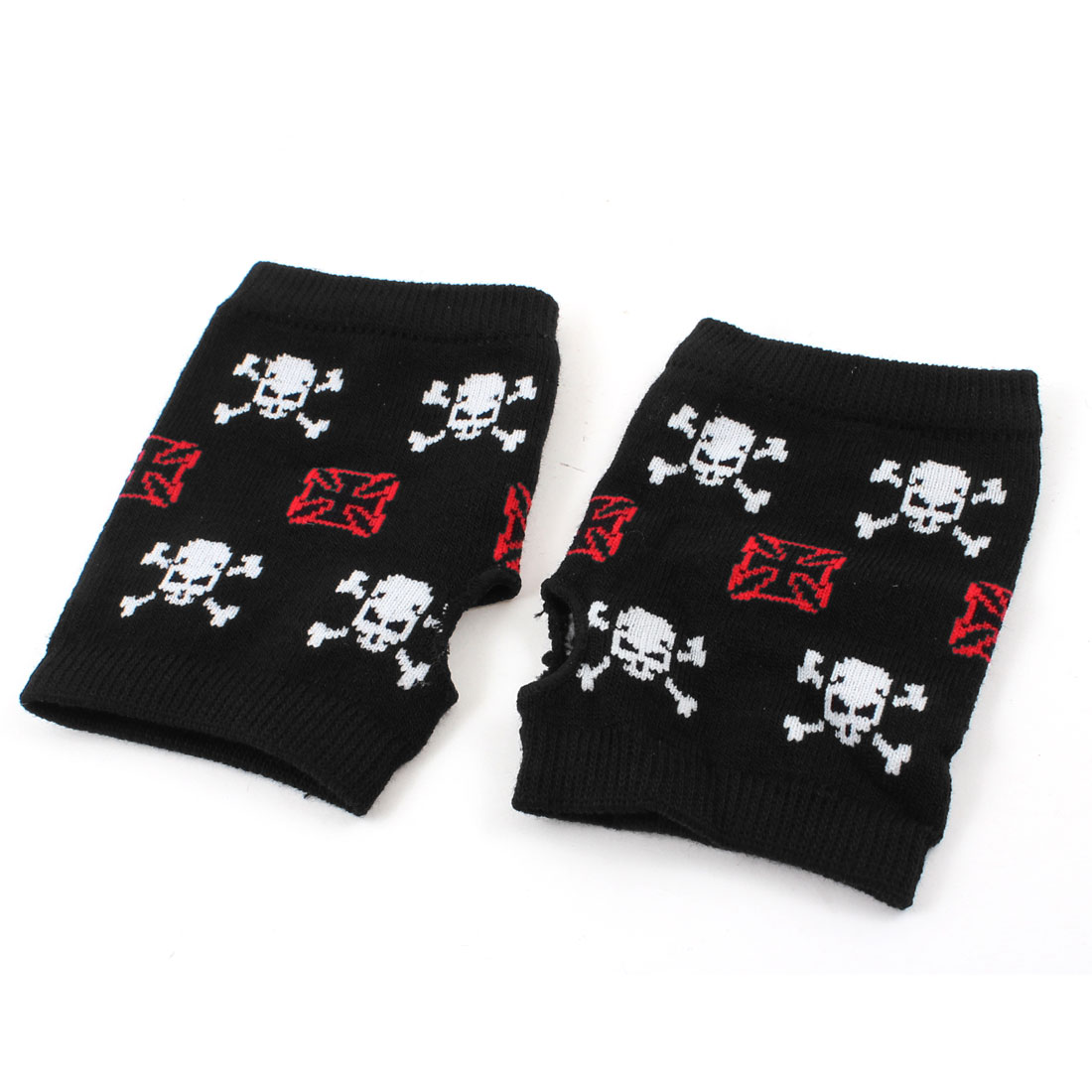 White Skull Red One Pice Pattern Stretchy Cuff Thumbhole Fingerless Black Gloves Pair