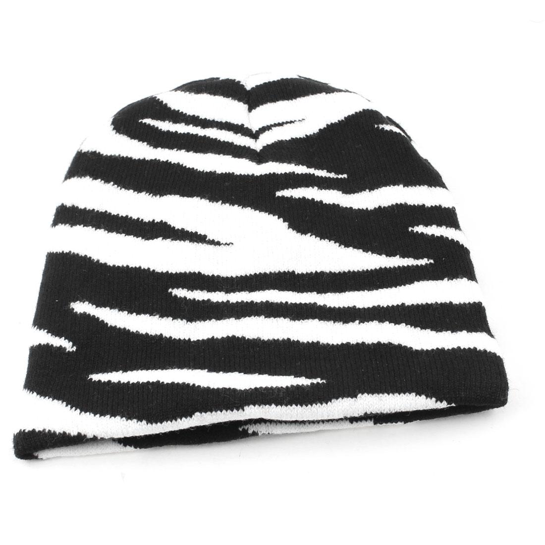 Zebra Print Black White Stretchy Knitting Beanie Hat Cap for Men Lady