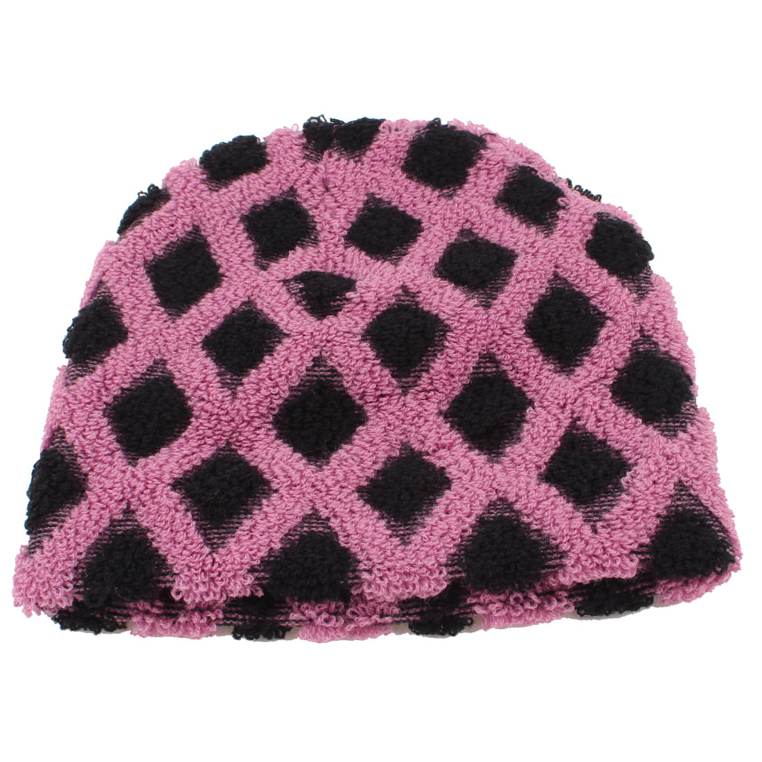 Black Pink Ribbed Rhomb Design Knitted Beanie Cap Winter Warmer Hat for Women