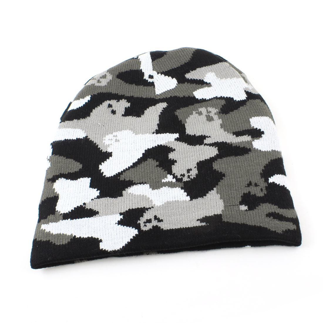 Man Soft Gray Black White Camouflage Pattern Cap Casual Warm Beanie Hat