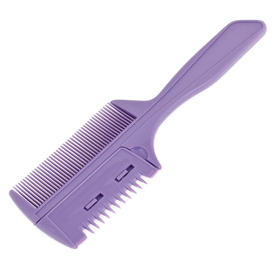 Hairstyle Hairdressing Purple Plastic 2 Ways Thin Toothed Hair Razor Comb w Blade