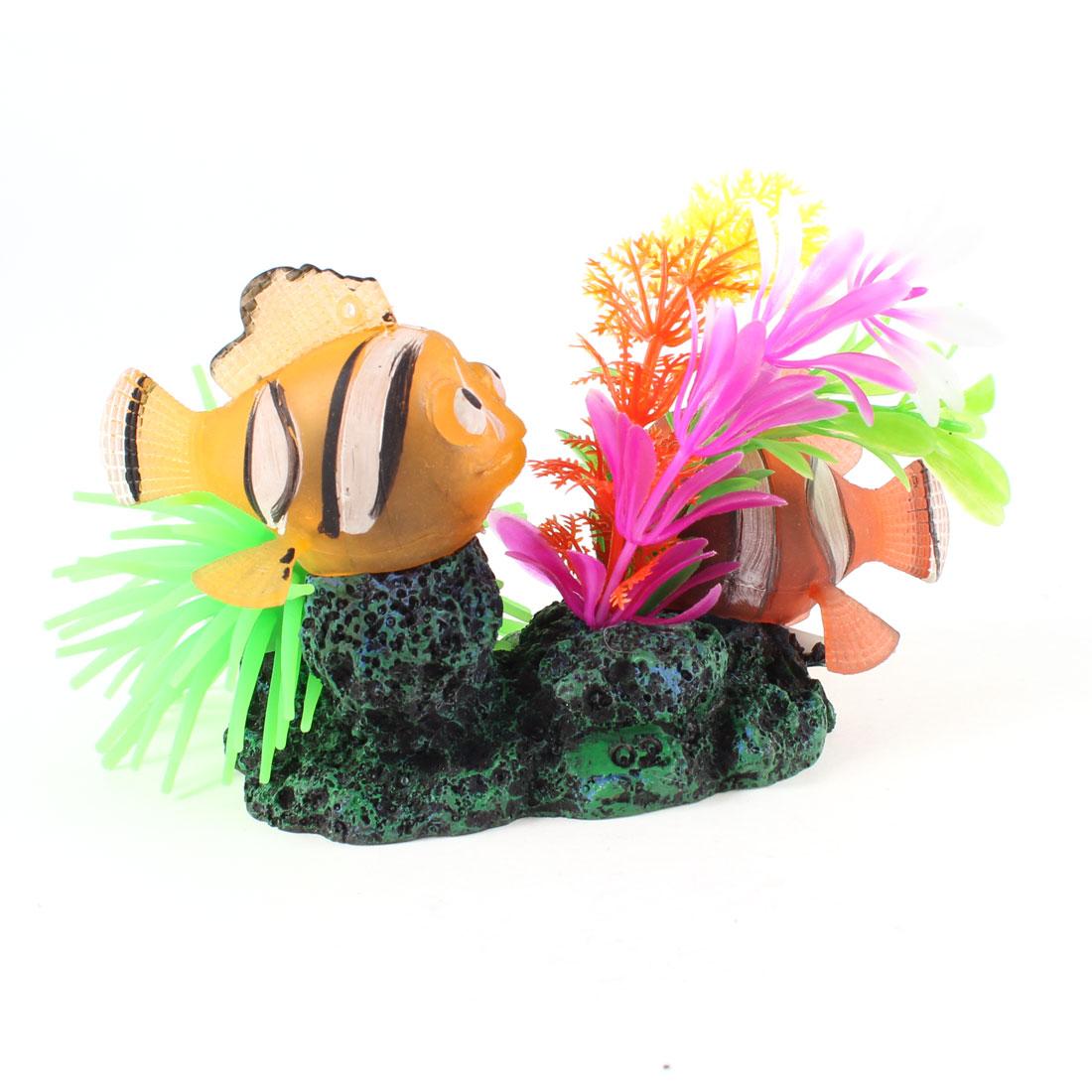 2 Pcs Two Orange Silicone Swing Tail Fish Ornament for Aquarium