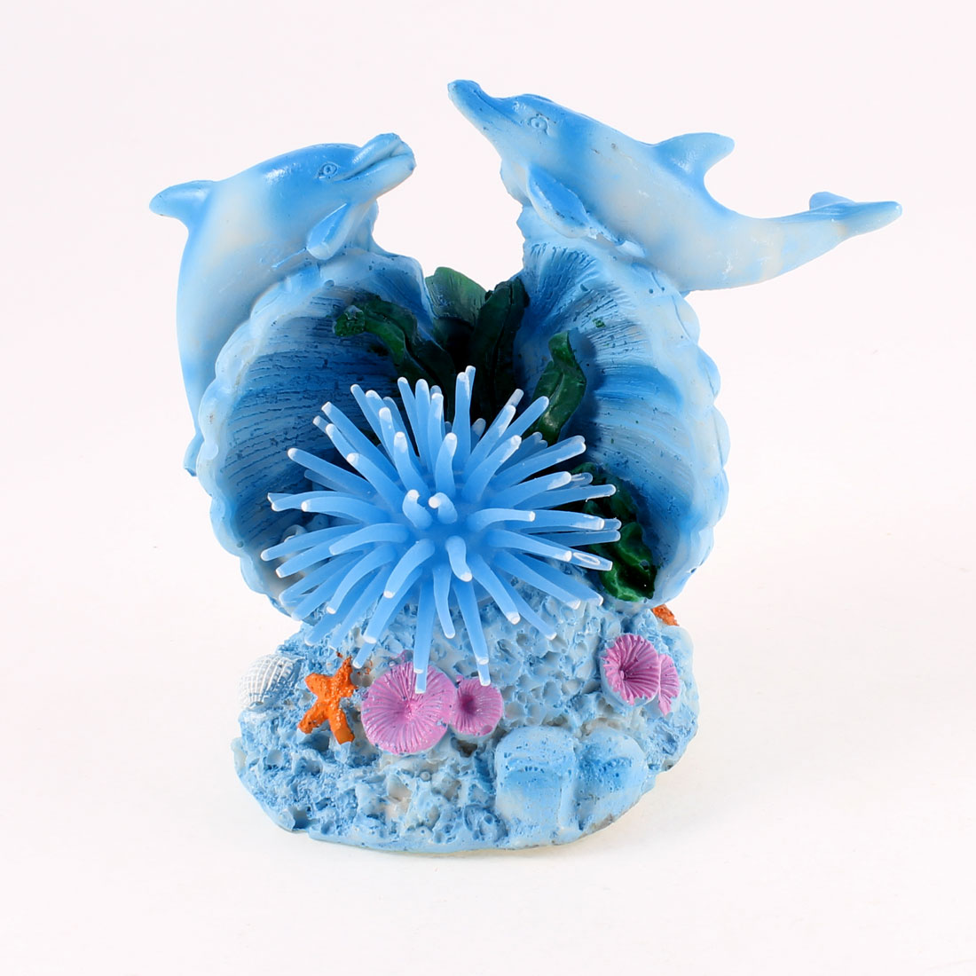 2 Pieces Blue Resin Dolphin Silicone Sea Anemone Decoration for Fish Tank