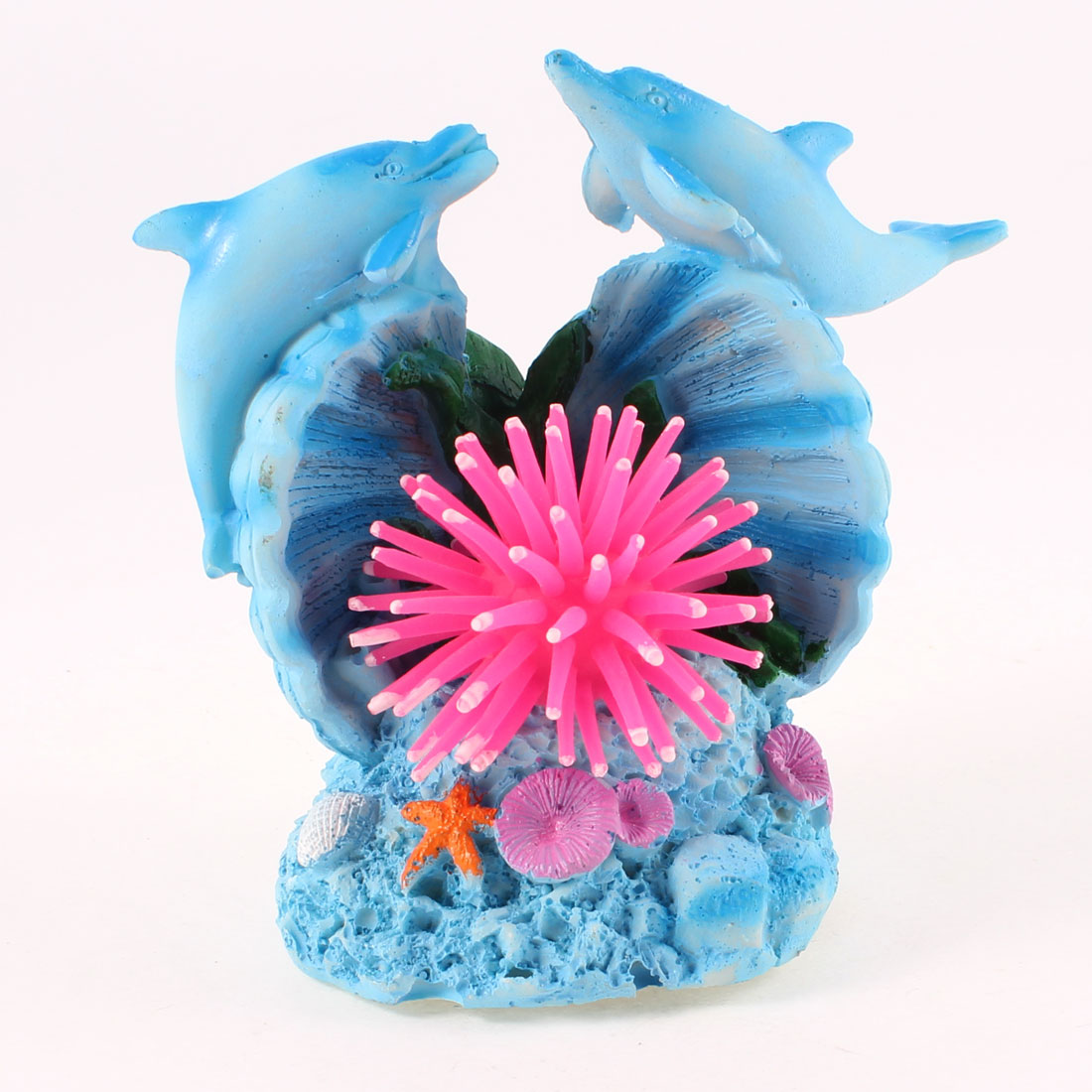 2pcs Blue Resin Dolphin Pink Silicone Sea Anemone Decoration for Fish Tank