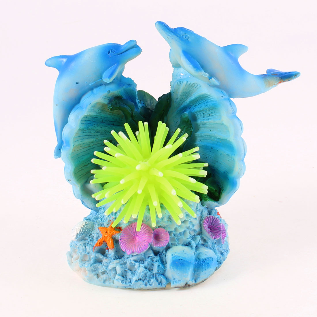 2 Pcs Blue Swing Tail Dolphin Yellow Silicone Sea Anemone Decor for Aquarium