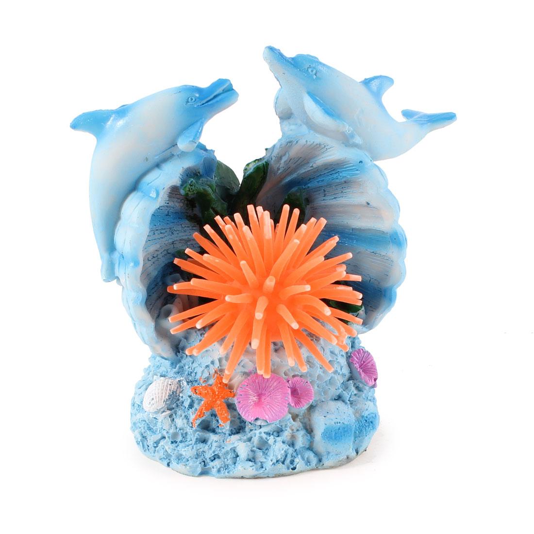 2 Pcs Blue Swing Tail Dolphin Orange Silicone Sea Anemone Decor for Aquarium
