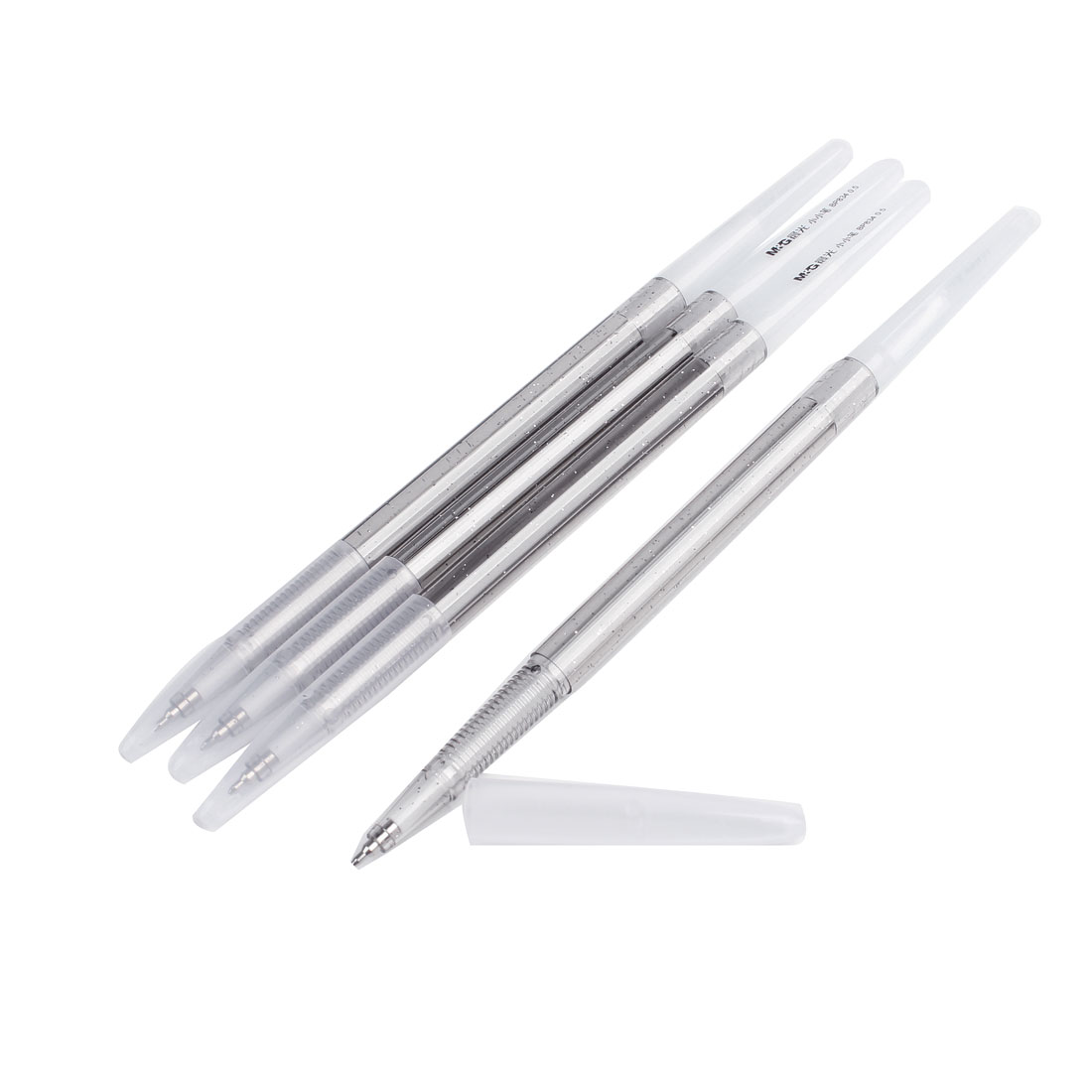 Clear Black Plastic Slim Body 0.5mm Blue Ball Point Pen Ballpen 4 Pcs