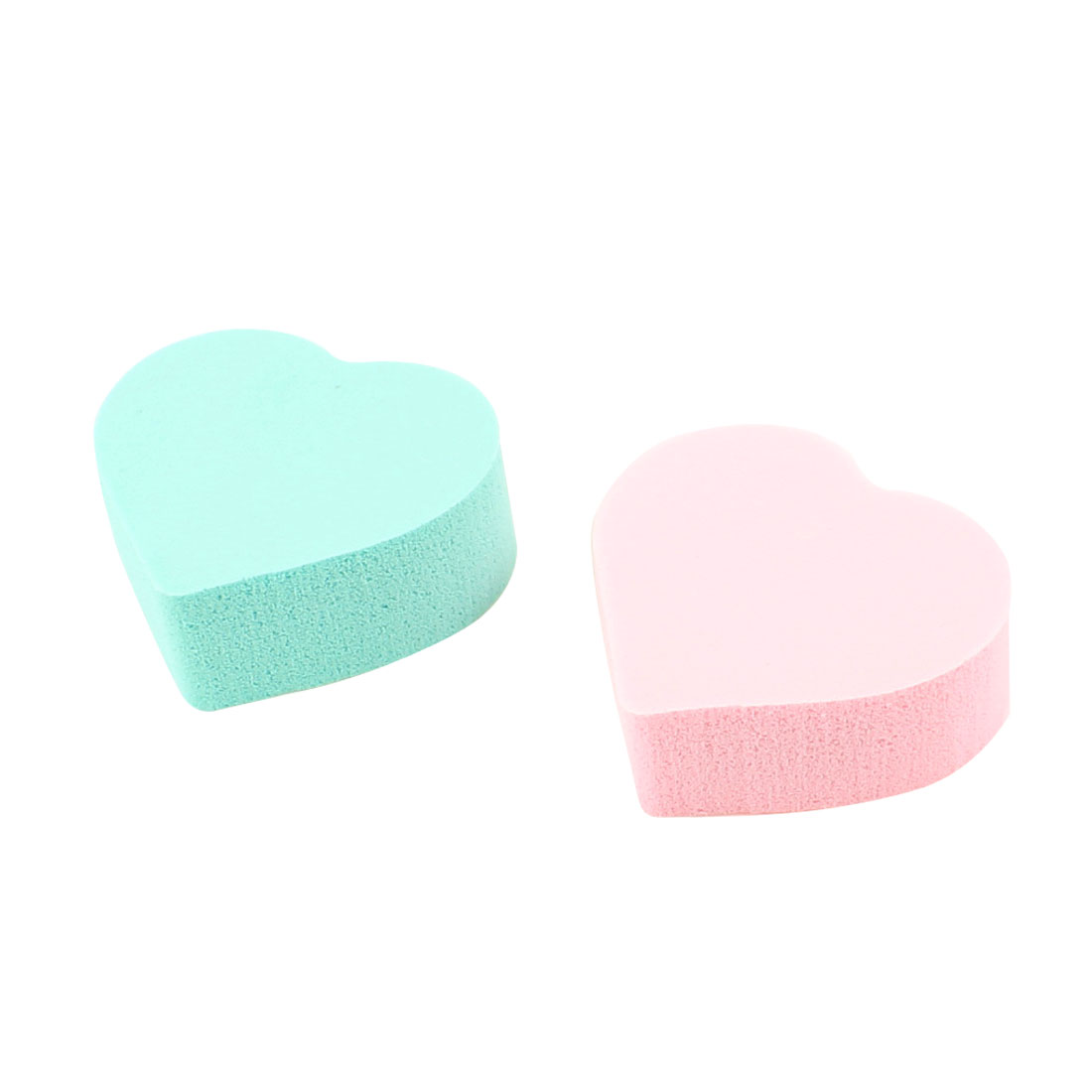 Lady Facial Care Heart Shaped Powderpuff Cosmetic Sponge Green Pink 2 Pcs