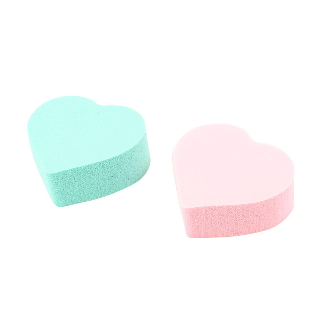 Lady Facial Care Heart Shaped Powderpuff Cosmetic Sponge Green Pink 2 Pcs