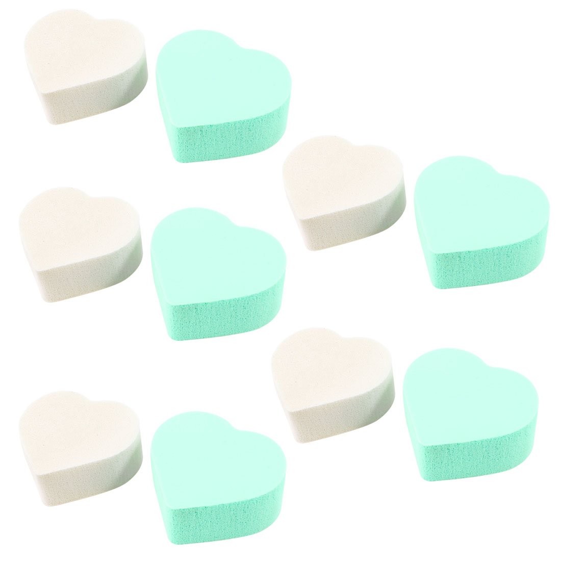 Lady Facial Care Heart Shaped Powderpuff Cosmetic Sponge White Green 10 Pcs