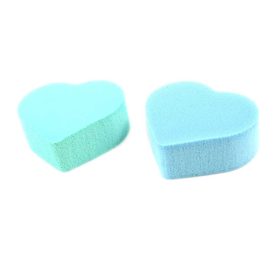 2 Pcs Green Blue Soft Sponge Heart Designed Facial Powder Puff for Ladies