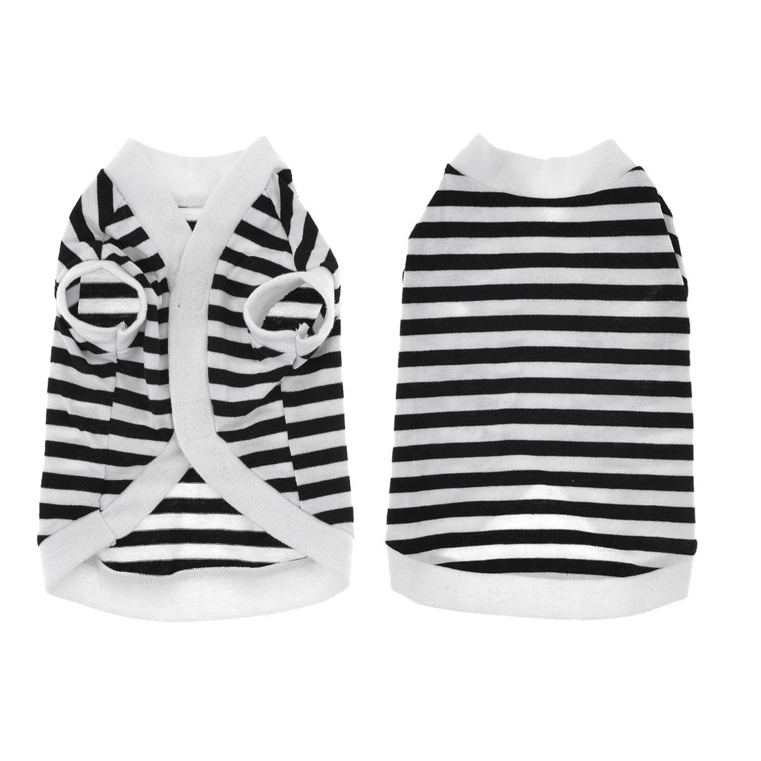 Summer Puppy Yorkie Hook Loop Closure Striped Tee Shirt Apparel White Black M