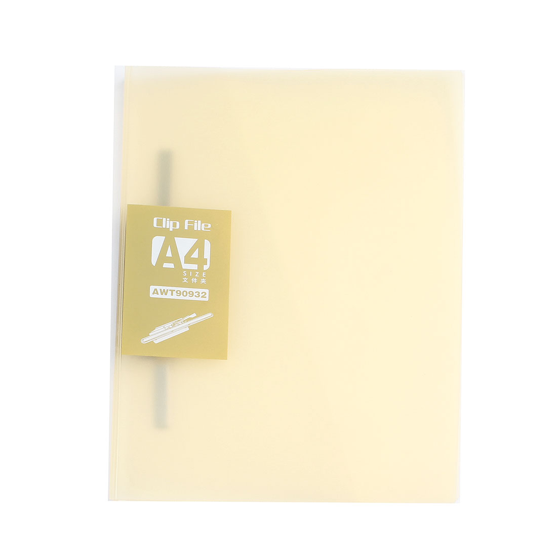 Metal Clip Clear Yellow Plastic Document File Folder Holder for A4 Papers