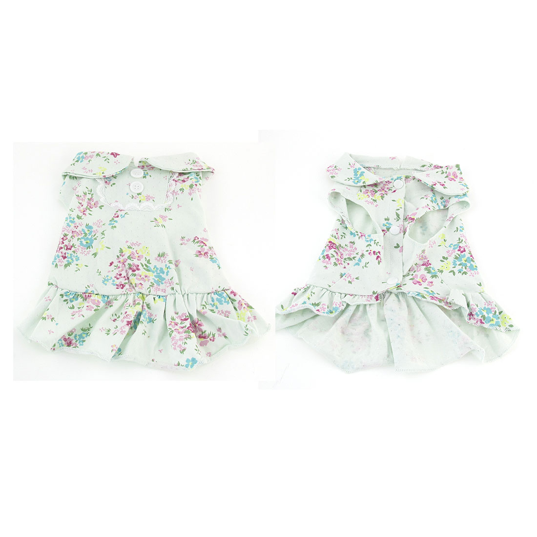 Pale Green Flower Printed Pets Chihuahua Dog Clothes Apparel Dress Size M