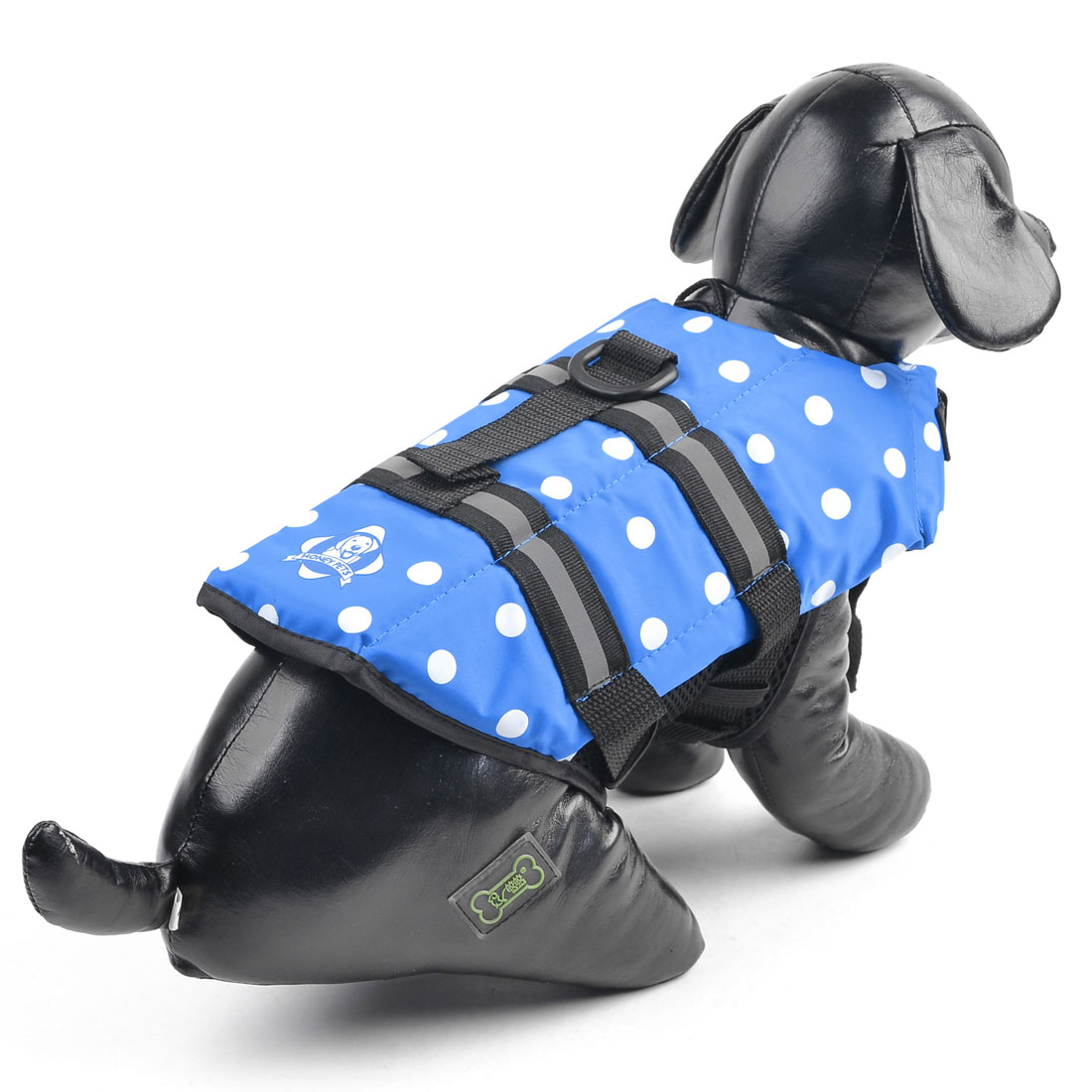 Dog Doggie Dotted Pattern Hook Loop Closure Safety Vest Black Blue XS