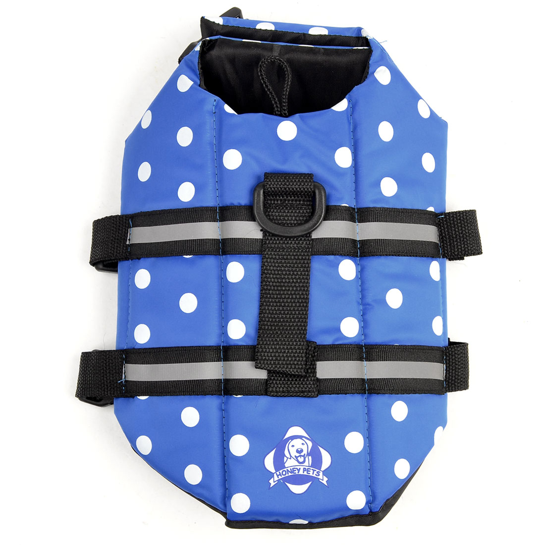 Dog Doggie Dotted Pattern Hook Loop Closure Safety Vest Black Blue 5XL