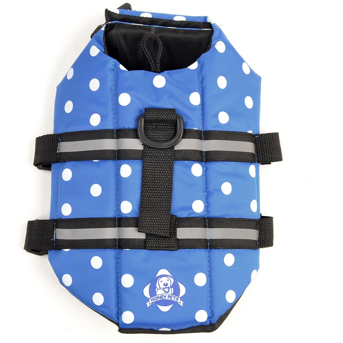 Dog Doggie Dotted Pattern Hook Loop Closure Safety Vest Black Blue 7XL