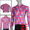 Man L Size Colorful Sea Halobios Prints Crew Neck Zipper Long Sleeve Cycling Shirt