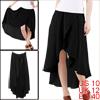 Lady NEW Fashion Elastic Smocked Waist Pure Black Casual Skirt M