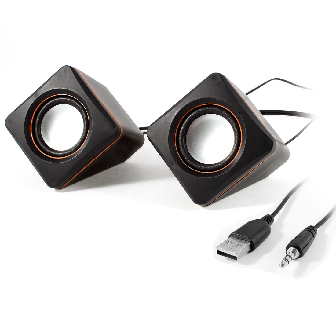 Black Volume Control USB 2.0 Desktop Mini Digital Speaker Box Pair for Pc Computer