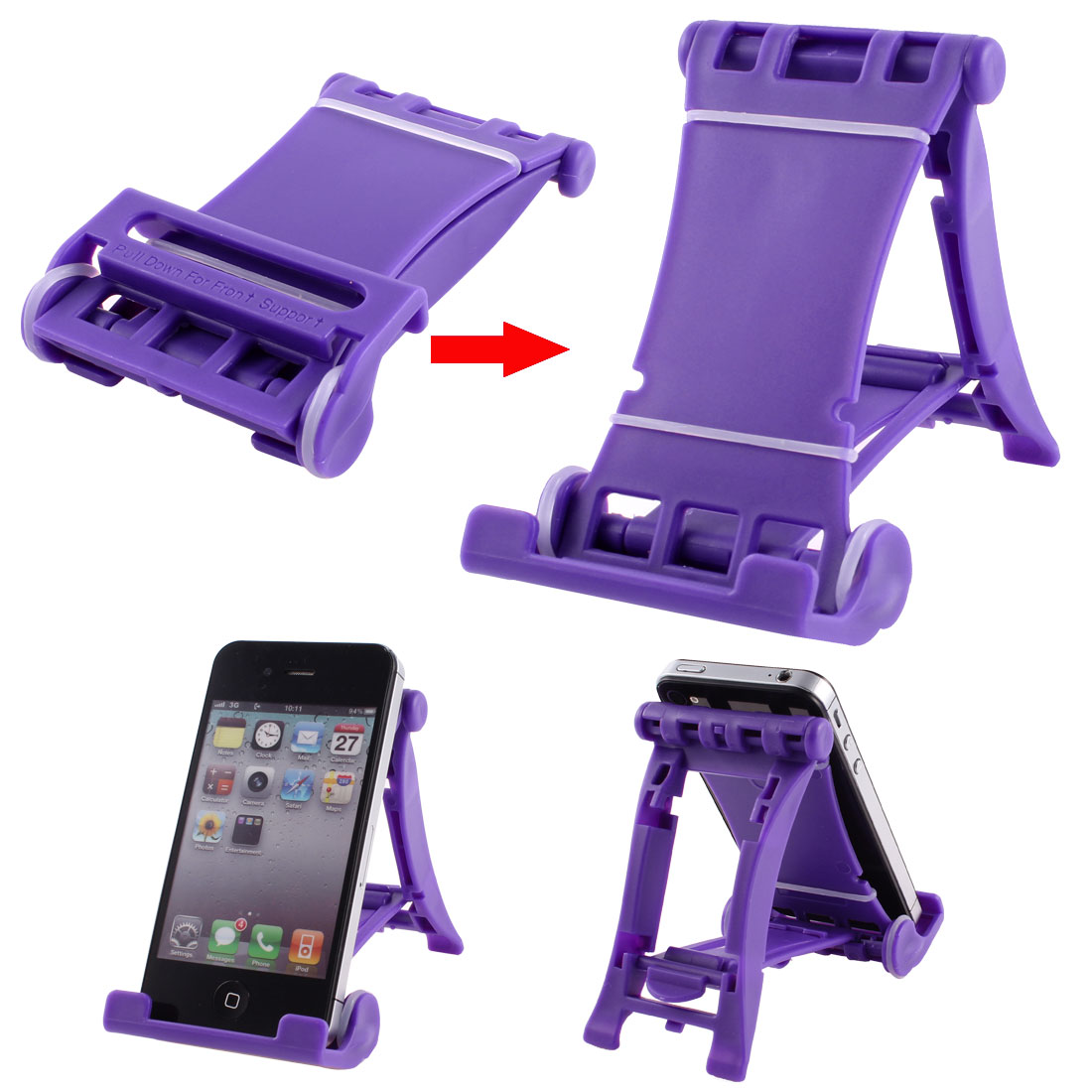 Purple Folded Universal Portable Multi Stand Holder for E-Reader Tablets