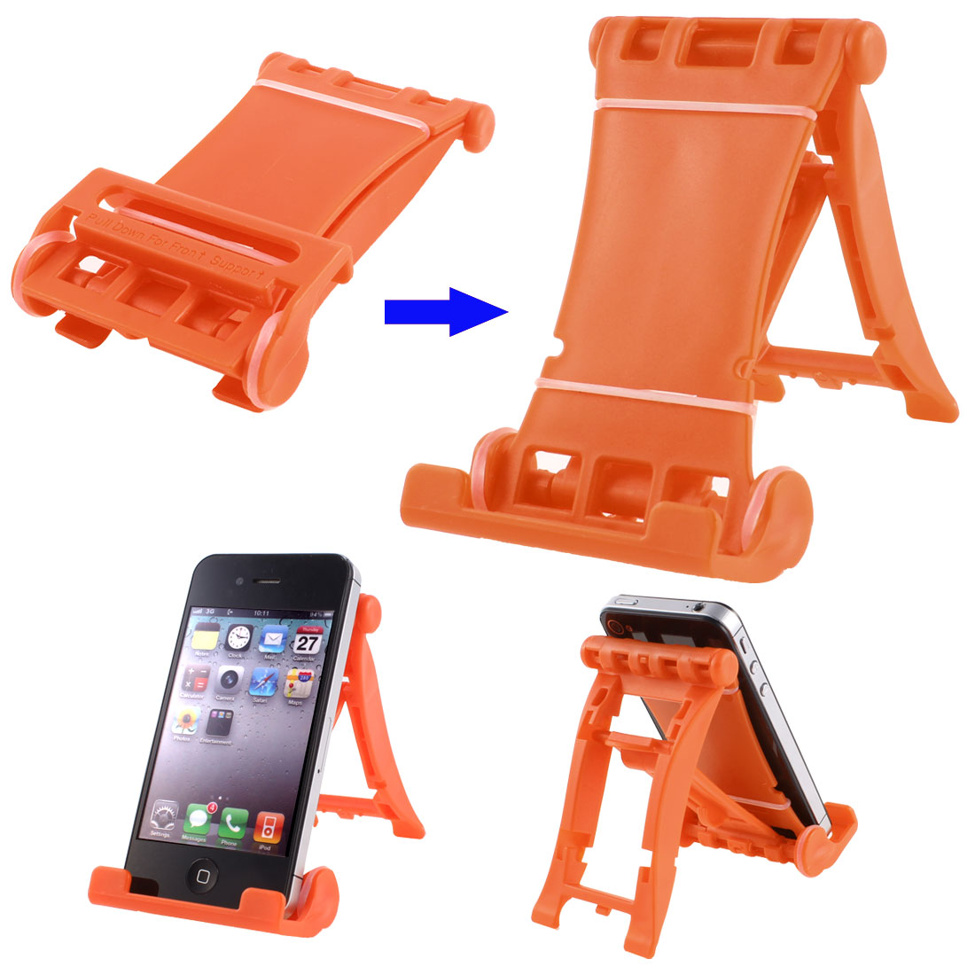Orange Plastic Folded Universal Portable Multi Stand Holder for E-Reader Tablets
