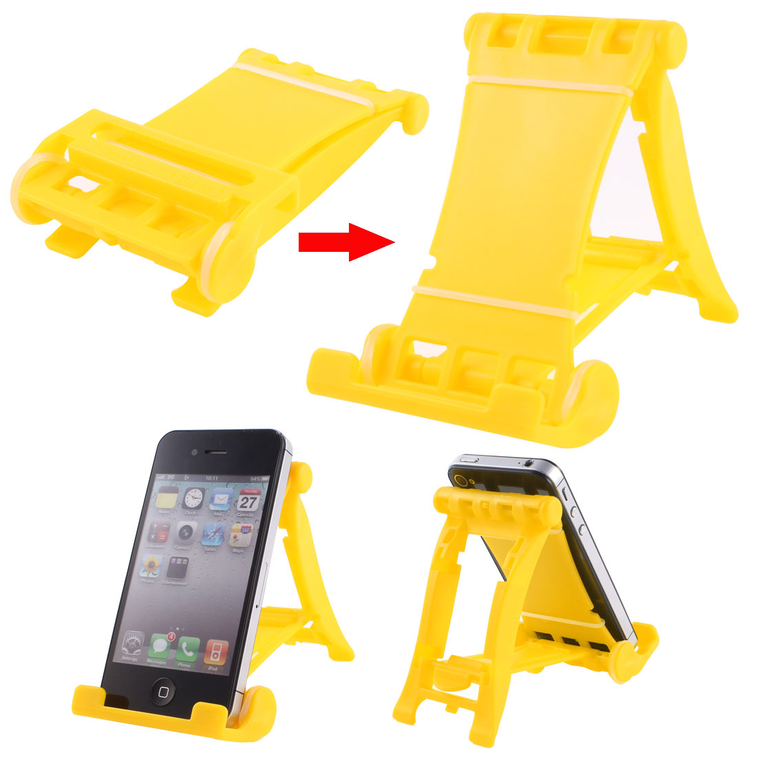 Yellow Plastic Folded Universal Portable Multi Stand Holder for E-Reader Tablets