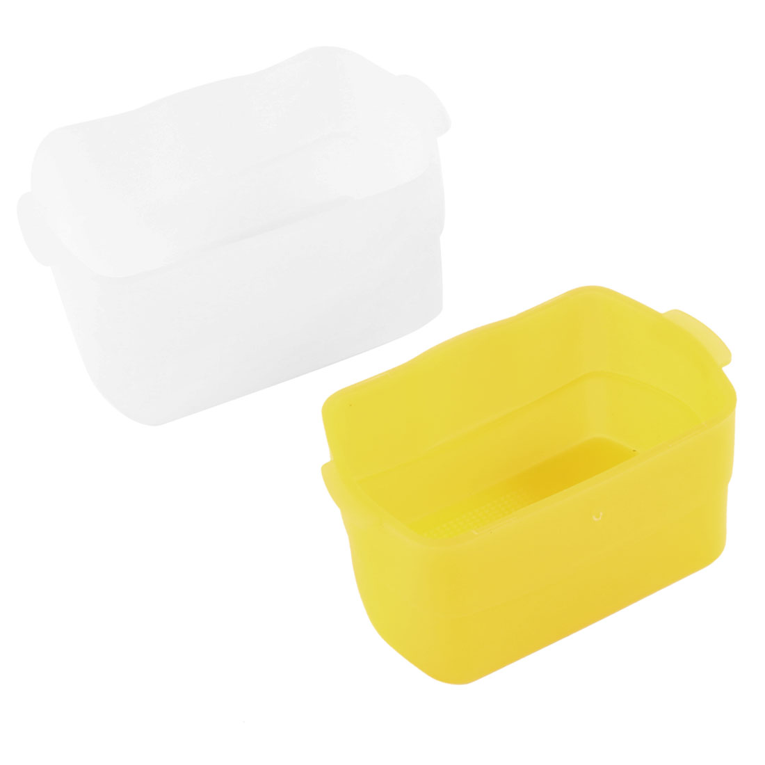 2 Pcs White Yellow Plastic Flash Bounce Diffuser Box for Canon 580EX II