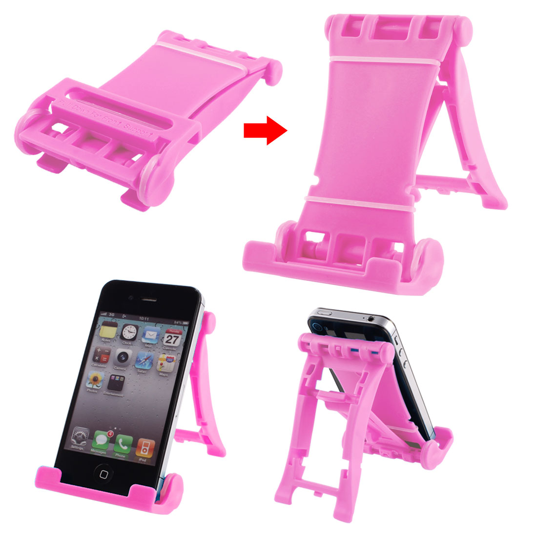 Pink Plastic Folded Universal Portable Multi Stand Holder for E-Reader Tablets
