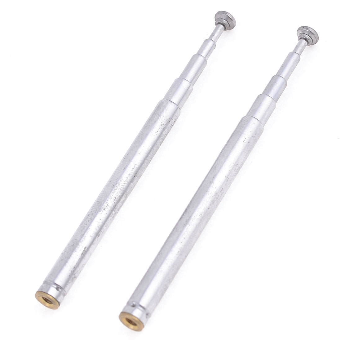 Pair Silver Tone FM Radio TV 5 Sections Telescopic Antenna Aerial 170mm