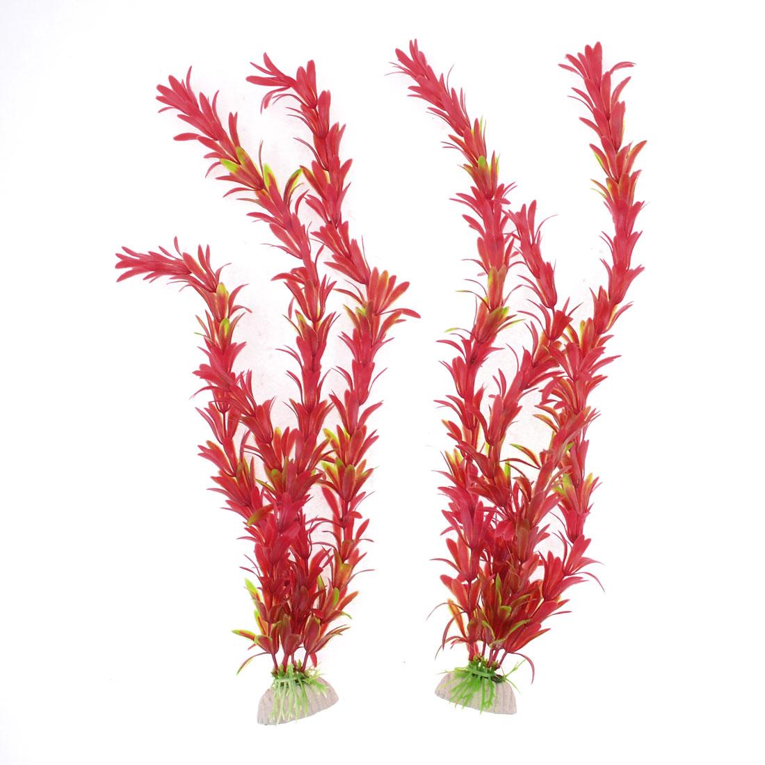 "2 Pcs 14.2"" Height Red Plastic Plant Decor for Aquarium Fish Tank"