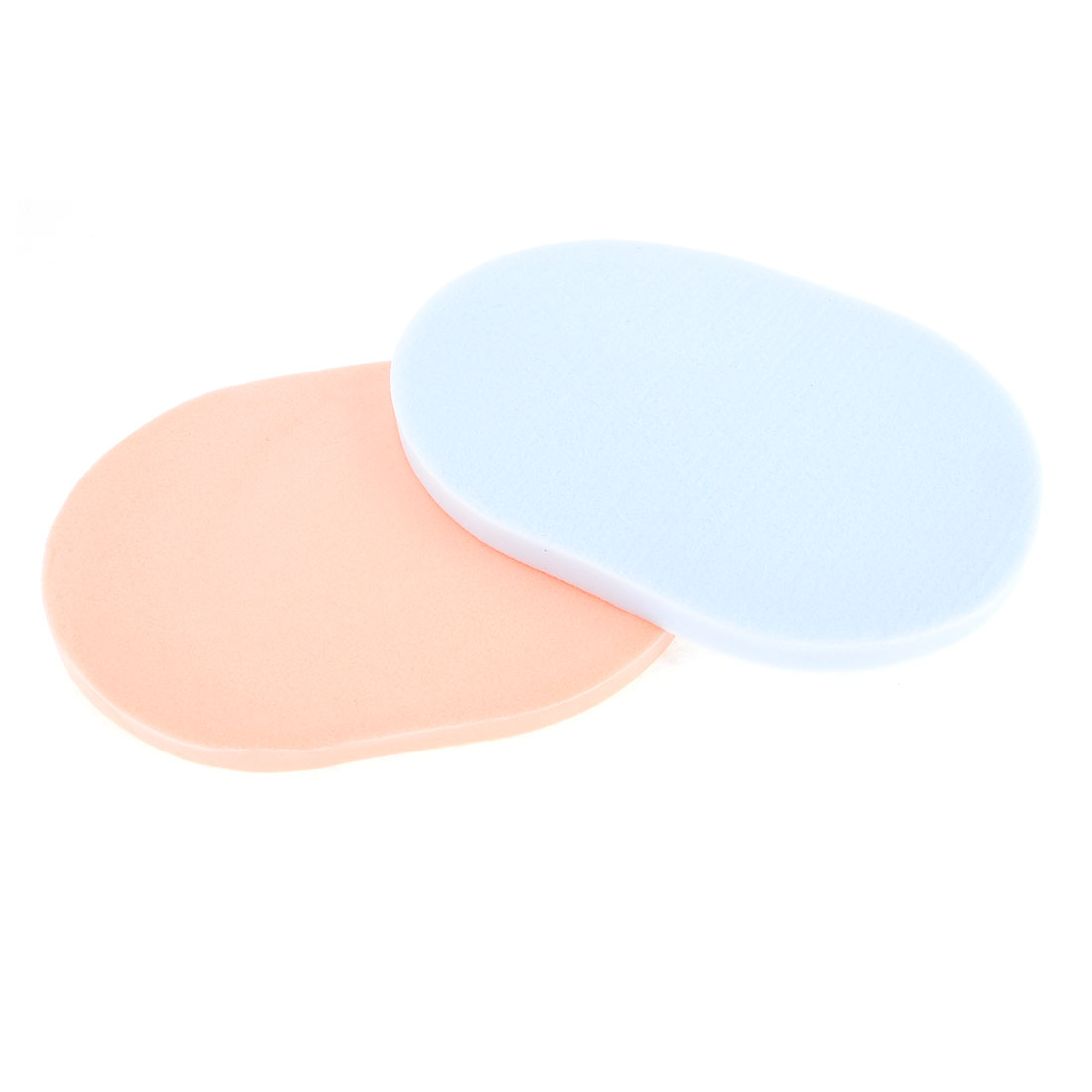 2pcs Pale Apricot Light Blue Oval Sponge Facial Pad Cleaning Powder Puff