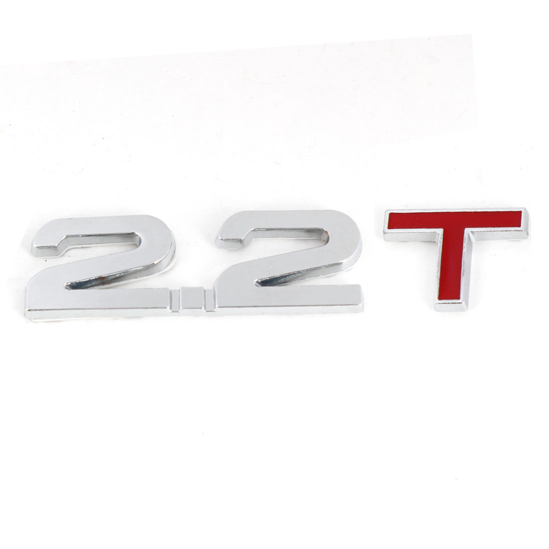 Silver Tone Red 2.2T Displacement Car Auto Decorative Emblem Badge Sticker