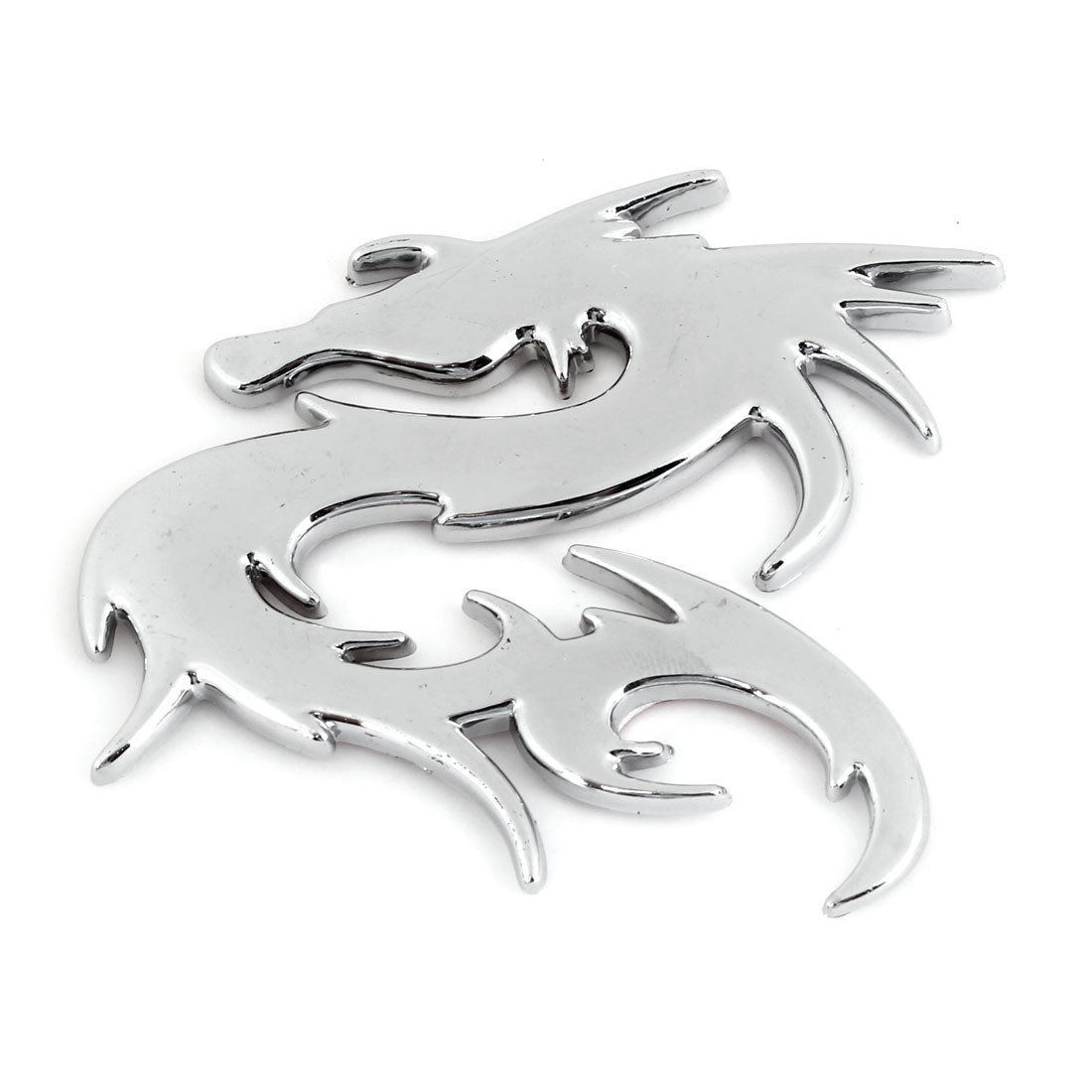 Silver Tone Plastic Dragon Shaped Self Adhesive Car Automobile Badge Sticker
