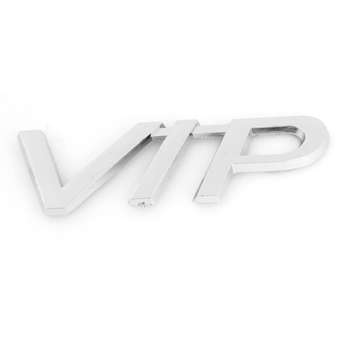 Auto Car Exterior Silver Tone Plastic VIP Shaped Sticker Badge Emblem Decoration