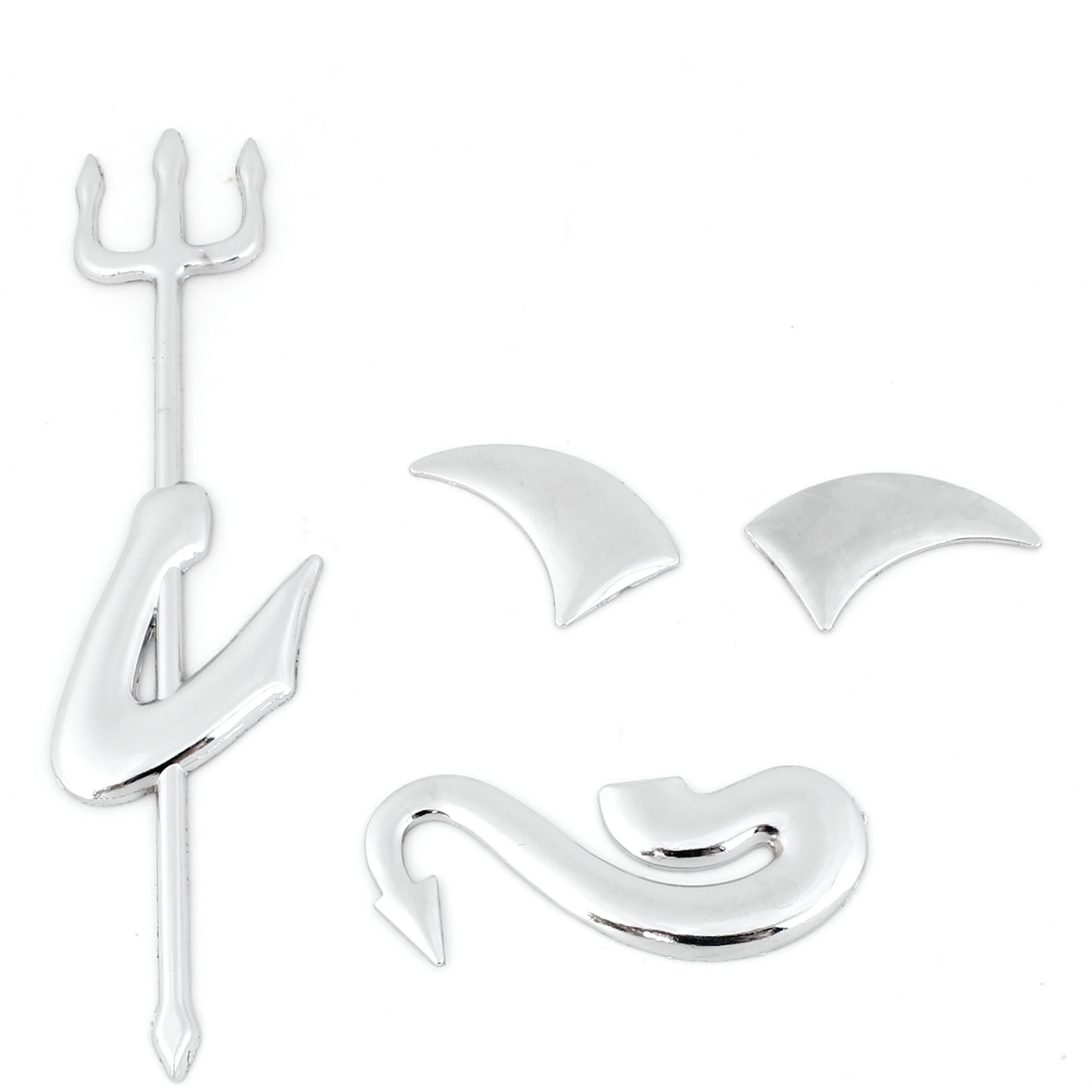 4 in 1 Silver Tone Plastic Demon Design Badge Emblem Sticker Ornament for Car