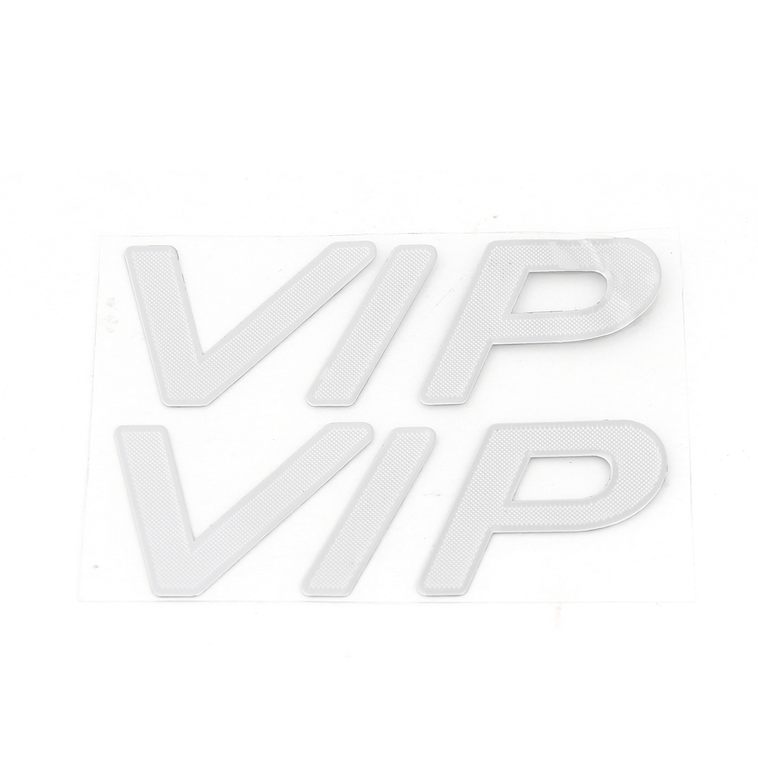 Vehicle Car Silver Tone VIP Printed Metal Sticker Decoration 2 Pcs